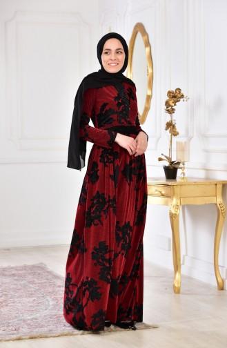 Robe Velours Imprimée de Pierre 2169-05 Bordeaux 2169-05