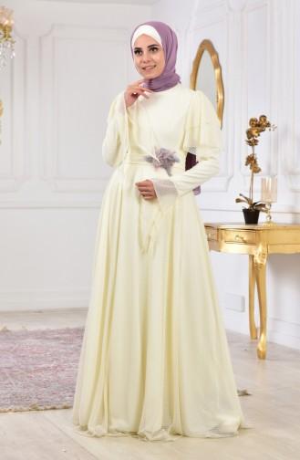 Polka Dot Belted Evening Dress Dress 11180A-01 Light Beige 11180A-01