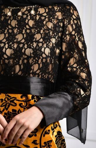 فستان مخمل بتفاصيل من الدانتيل 2164-02 لون اصفر داكن 2164-02