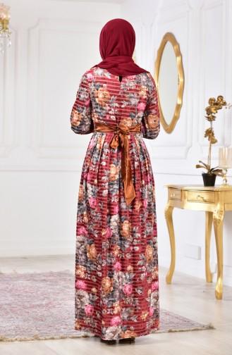 Çiçek Desenli Kadife Elbise 2137-03 Kiremit