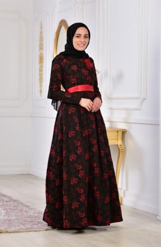 Çiçek Aplikeli Abiye Elbise 2504-05 Siyah Kırmızı 2504-05