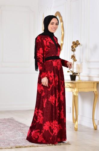 Taş Baskılı Kadife Elbise 2169-02 Kırmızı 2169-02
