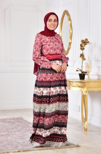 Printed Belted Dress 2515-03 Red 2515-03