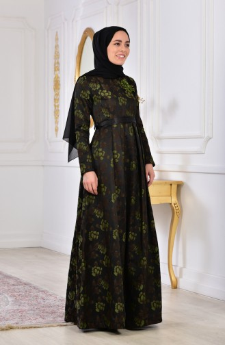 Robe de Soirée Fleurs Appliquer 2504-01 Khaki Foncé 2504-01