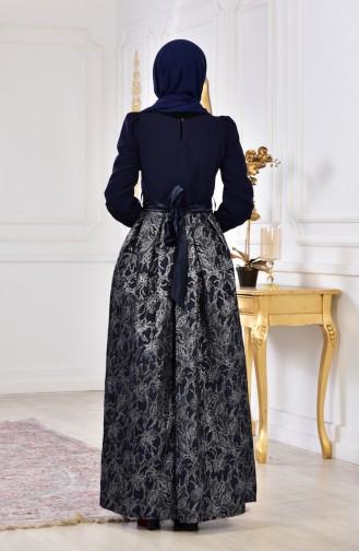 Silvery Evening Dress 2140-03 Navy 2140-03
