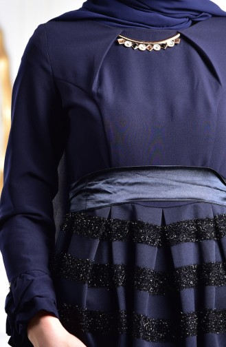 Kolyeli Simli Elbise 2150-03 Lacivert