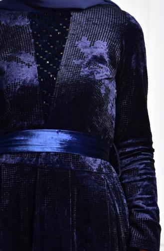 Robe Velours Imprimée de Pierre 2169-03 Bleu Marine 2169-03