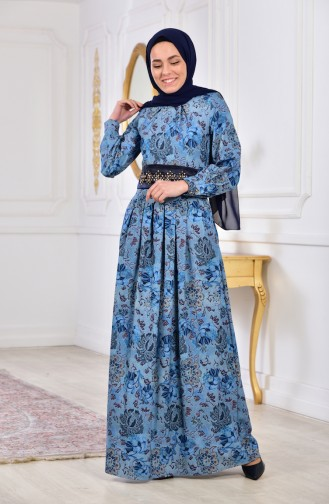فستان بتصميم مُطبع 2004-02 لون ازرق 2004-02
