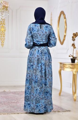 Robe Imprime Numérique 2004-02 Bleu 2004-02