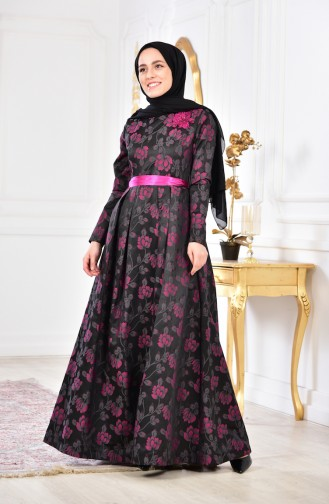 Flower Appliqued Evening Dress2504-02 Smoked Purple 2504-02