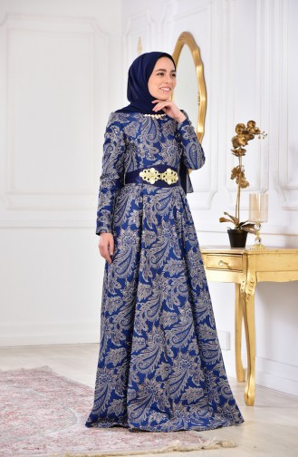 فستان بتصميم مُطبع 2449-03 لون ازرق 2449-03