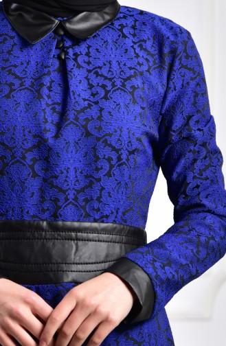 Robe Jacquard 1617-04 Bleu Roi 1617-04