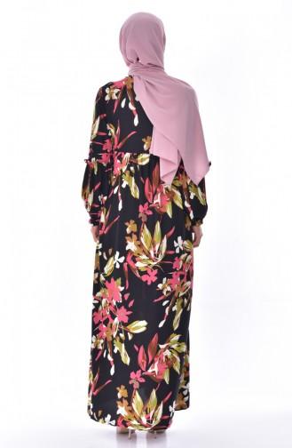 Fırfırlı Elbise 7056-01 Siyah Gül Kurusu 7056-01