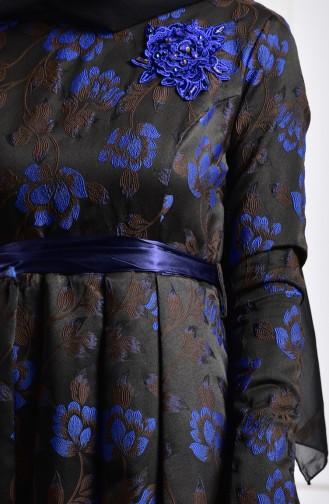 Çiçek Aplikeli Abiye Elbise 2504-04 Siyah Saks 2504-04