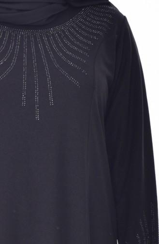 Büyük Beden Taş Baskılı Elbise 4823-02 Siyah 4823-02