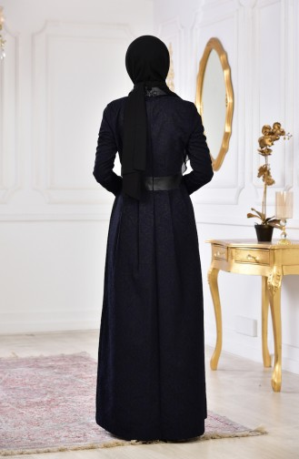 Jakarlı Elbise 1617-02 Siyah 1617-02