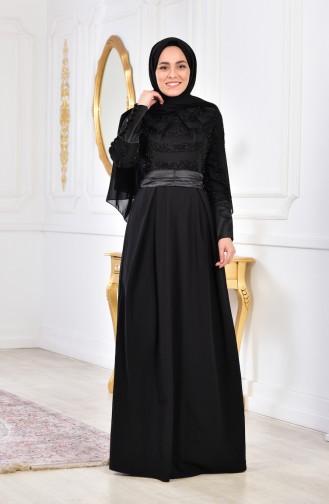 Kuşaklı Elbise 2146-02 Siyah 2146-02