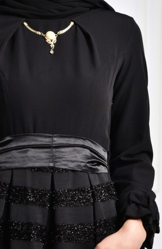 Silvery Necklace Collar Dress 2150-01 Black 2150-01