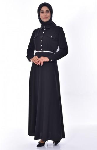 Çıtçıtlı Elbise 3558-02 Siyah 3558-02