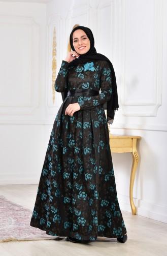 Robe de Soirée Fleurs Appliquer 2504-03 Brun Turquoise 2504-03