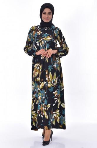 فستان بتفاصيل من الكشكش 7056-02 لون اسود وتركواز 7056-02