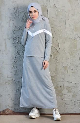 Sport Blouse Skirt Double Suit 8266-02 Gray 8266-02