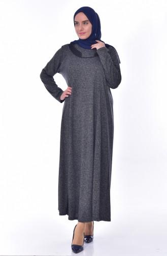 Large Size Pattern Dress 4848D-01 Anthracite 4848D-01