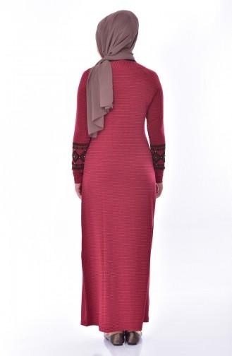 فستان بتفاصيل من اللؤلؤ 99162-02 لون خمري 99162-02