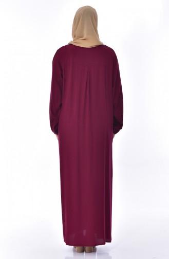 Plus Size Embroidered Stone Dress 99164-01 Bordeaux 99164-01