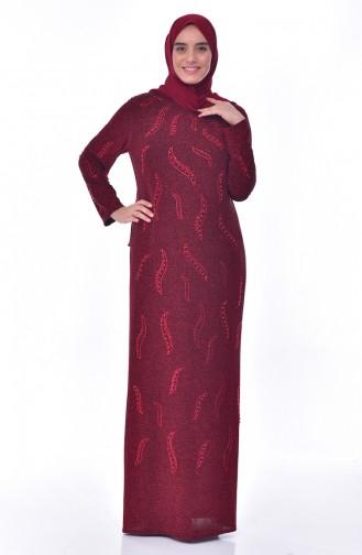 فستان سهرة يتميز تفاصيل من الؤلؤ 6177-04 لون خمري 6177-04
