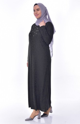 Büyük Beden Taş Baskılı Elbise 4889-02 Haki 4889-02