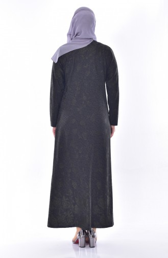 Büyük Beden Taş Baskılı Elbise 4889A-05 Haki 4889A-05