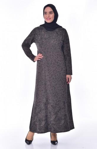 Büyük Beden Taş Baskılı Elbise 4889-05 Koyu Vizon 4889-05