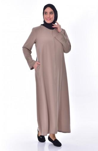 Übergröße Abaya mit Stickerei 2521-07 Creme 2521-07