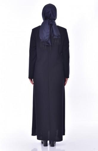 Large Size Zippered Abaya 6007-01 Navy Blue 6007-01