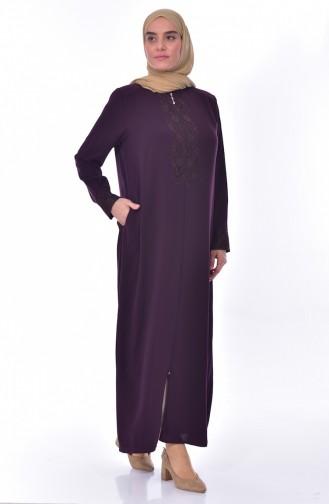 Übergröße Abaya mit Spitzen 2518-03 Lila 2518-03