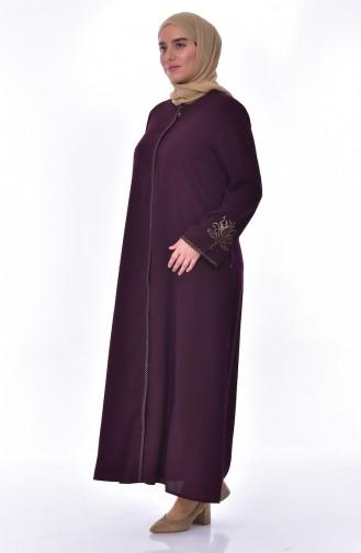 Abaya Bordée Grande Taille 2521-02 Pourpre 2521-02