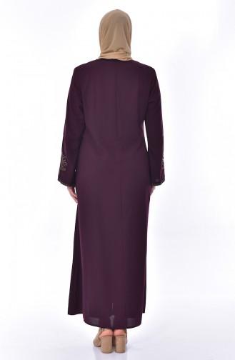 Large Size Embroidered Abaya 2521-02 Purple 2521-02