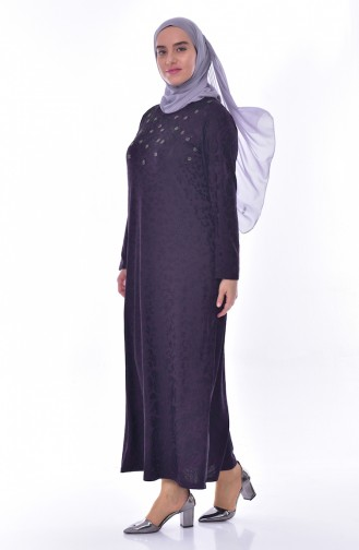 Large Size Stone Printed Dress 4889-04 Purple 4889-04