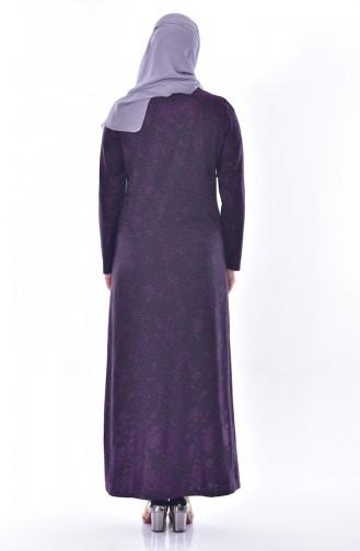 Büyük Beden Taş Baskılı Elbise 4889A-02 Mor 4889A-02