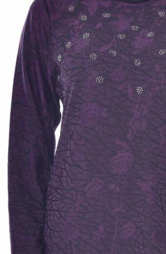 فستان مُطبع بأحجار لامعة بمقاسات كبيرة 4889A-02 لون بنفسجي 4889A-02