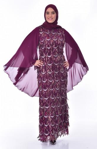 Robe de Soirée a Paillettes Grande Taille 6173-02 Plum 6173-02