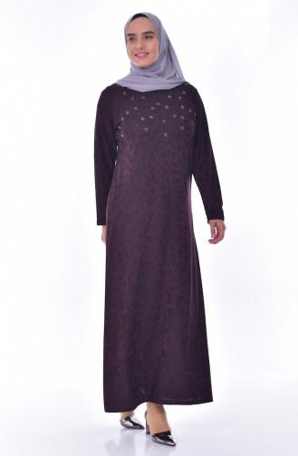 Büyük Beden Taş Baskılı Elbise 4889-01 Mürdüm 4889-01