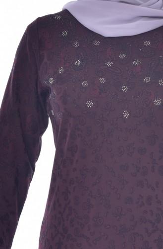 Robe Imprimée de Pierre Grande Taille 4889-01 Plum 4889-01