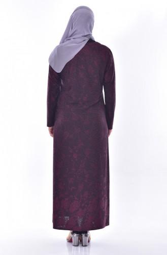 Büyük Beden Taş Baskılı Elbise 4889A-01 Mürdüm 4889A-01