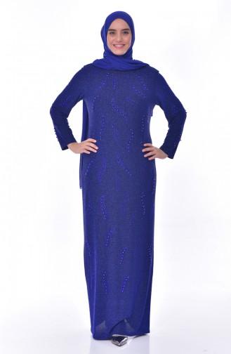 فستان سهرة يتميز تفاصيل من الؤلؤ بمقاسات كبيرة 6177-03 لون ازرق 6177-03