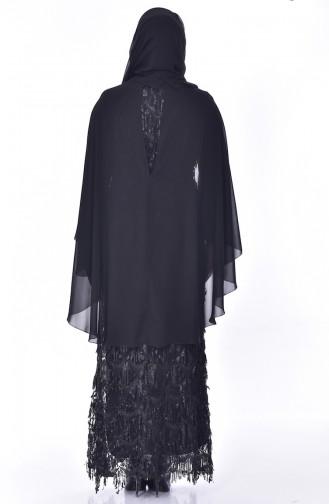 Plus Size Sequined Evening Dress 6173-03 Black 6173-03