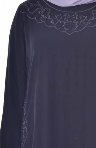 Büyük Beden Nakışlı Taşlı Elbise 99164-03 Siyah