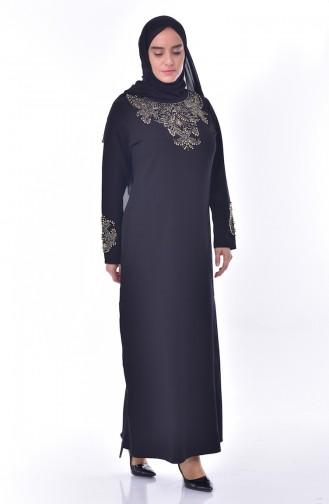 Büyük Beden Taş Baskılı Elbise 0013-01 Siyah