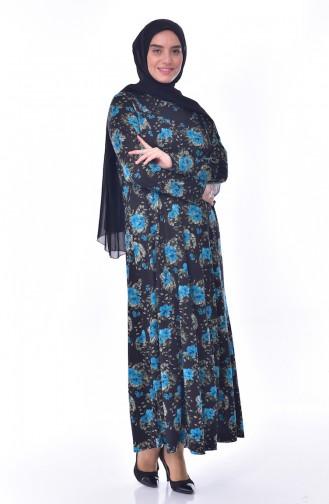 Large Size Pattern Dress 4887-03 Black Turquoise 4887-03